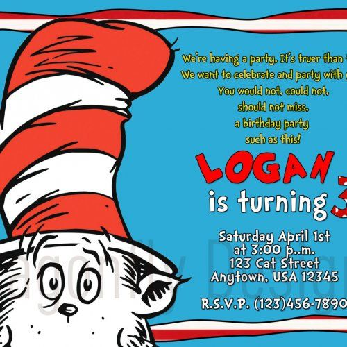 cat in the hat birthday invitation wording ; 6557bd86ee5a49e21050c22e963929aa