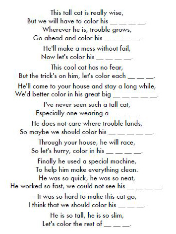 cat in the hat birthday poem ; Color+a+rhyme+cat+in+hat