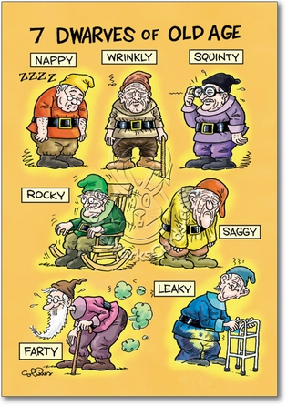charlie's angels birthday card ; 4729-old-age-dwarves-funny-cartoons-happy-birthday-card