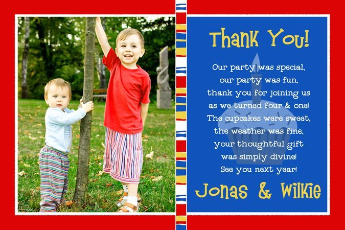 child birthday card wording ; sibling-cupcake-birthday-thank-you-card-photo-primary-colors