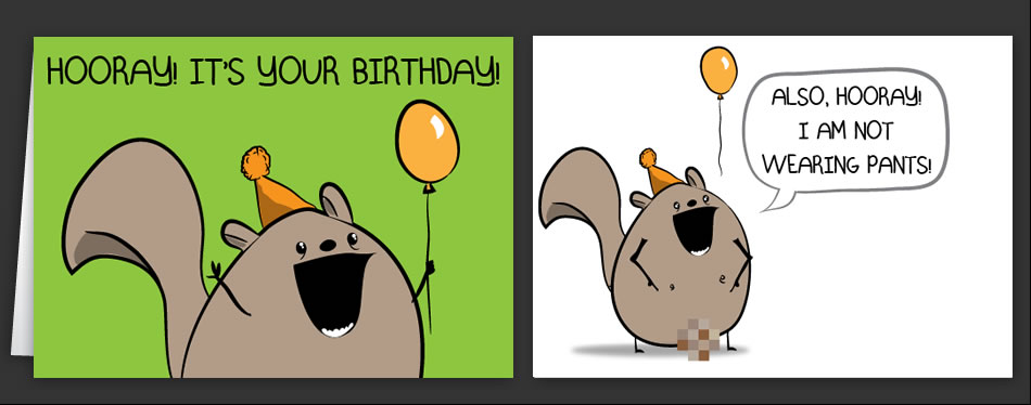 chipmunk birthday card ; card_chipmunk_no_pants