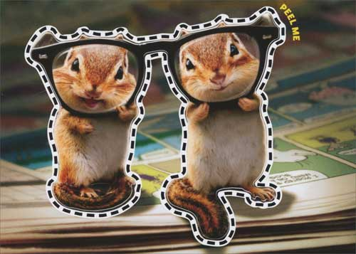 chipmunk birthday card ; cd10513-chipmunks-thick-glasses-birthday-card
