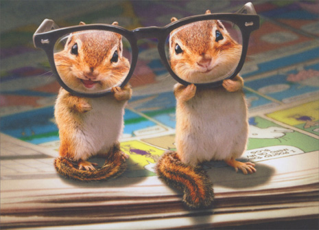 chipmunk birthday card ; cd4623-chipmunks-with-thick-glasses-birthday-card