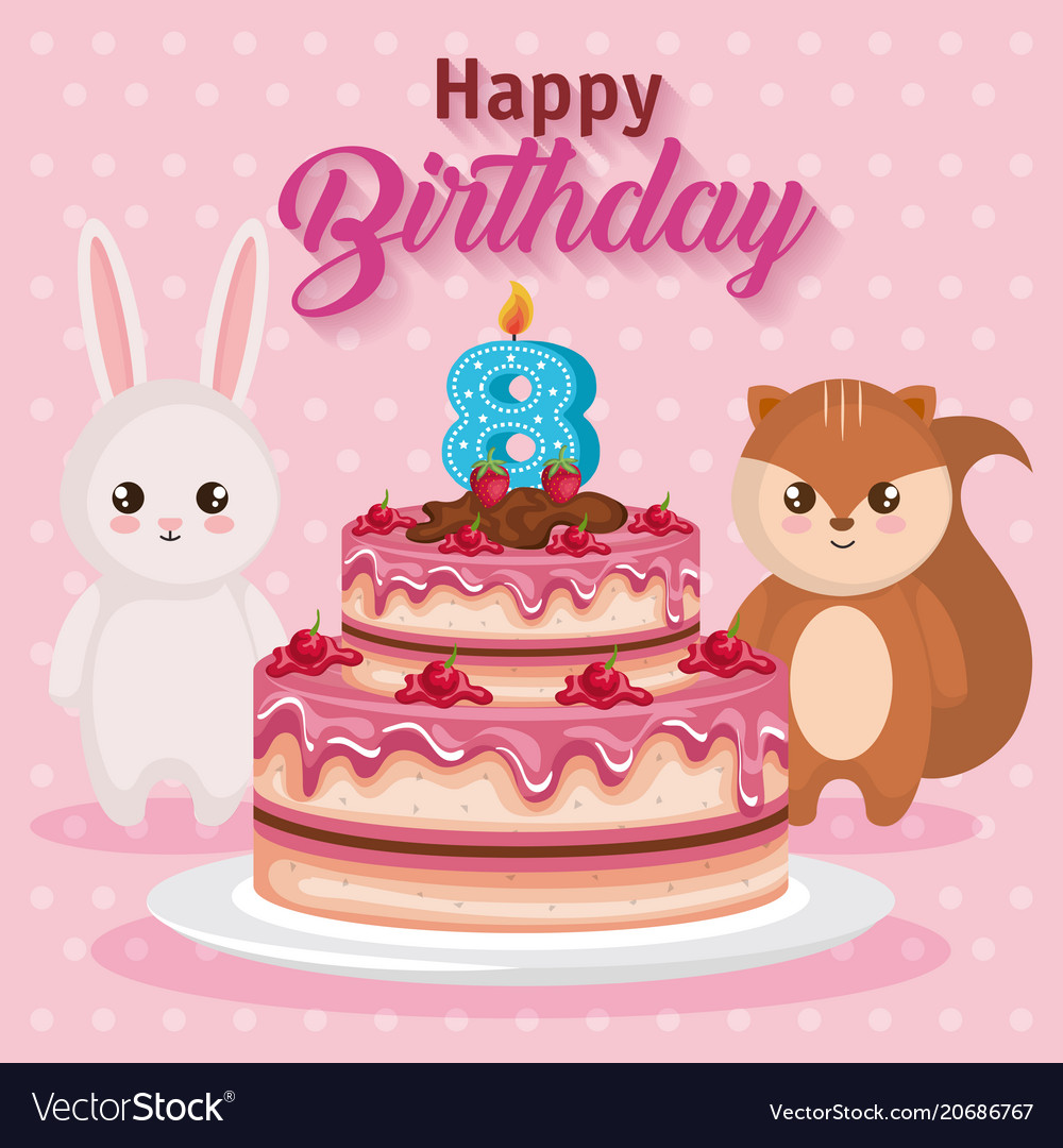 chipmunk birthday card ; happy-birthday-card-with-chipmunk-and-rabbit-vector-20686767