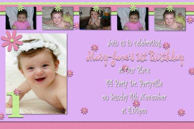 christening and birthday invitation wording ; personalised-first-1st-birthday-party-invitations-invites-baptism-and-first-birthday-invitation-wording