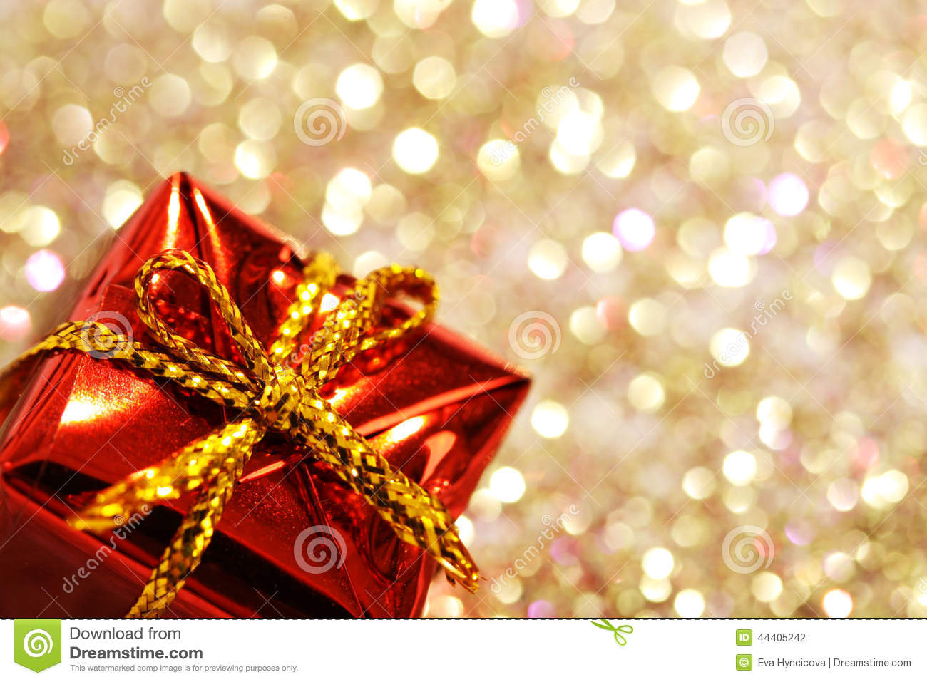 christmas birthday background ; part-christmas-red-gift-box-yellow-bow-glitter-silver-gold-background-colors-44405242