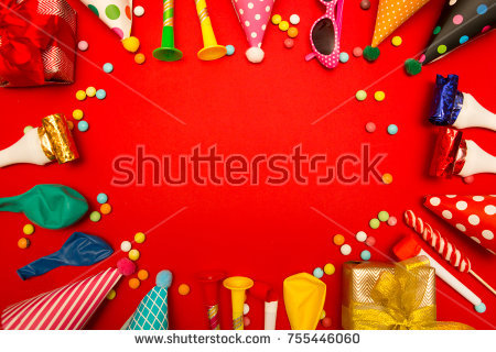 christmas birthday background ; stock-photo-children-party-background-birthday-background-colorful-party-frame-with-cap-and-whistle-on-red-755446060