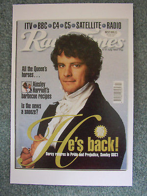 colin firth birthday card ; Postcard-Radio-Time-July-1997-Pride-and-Prejudice
