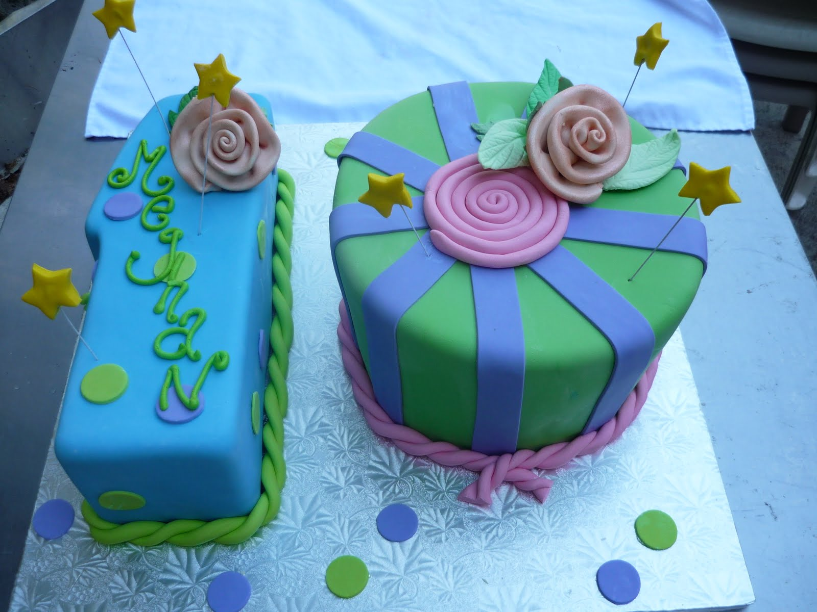 color combinations for birthday cakes ; 10+ten+cake+sculpted+number+cake+tenth+birthday+cake+girls+birthday+fondant+with+fondant+ribbon+roses+and+stars+on+wires+bright+colored+birthday+cake