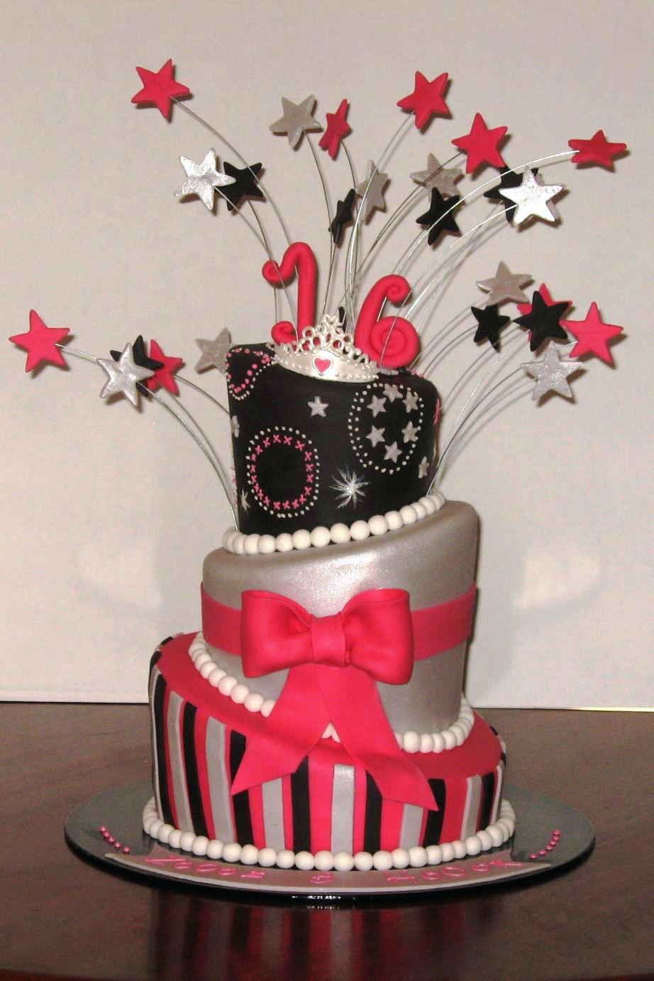color combinations for birthday cakes ; fascinating-16th-birthday-cakes-birthday-cakes-birthday-cakes-for-girls-black-and-silver-color-combination-with-red-color-16th-birthday-cakes-online