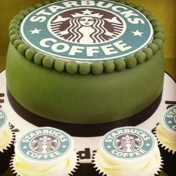 color combinations for birthday cakes ; nice-decorated-birthday-cake-starbucks-green-white-brown-color-combination-design-simple-round-candy-marble-cupcakes-coffee