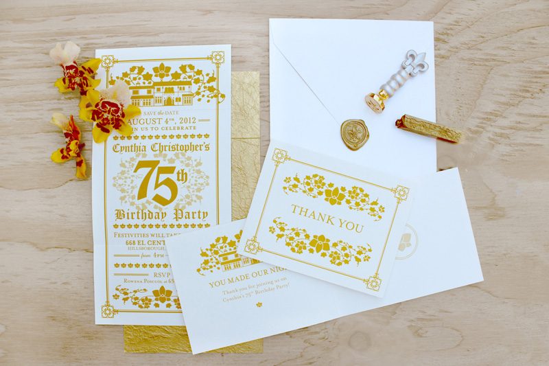 color motif for 75th birthday ; Elaborate-Gold-Birthday-Party-Invitations-Anna-Salazar4