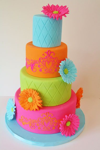 colorful birthday cakes for girls ; birthday-cake-colorful-colors-Favim