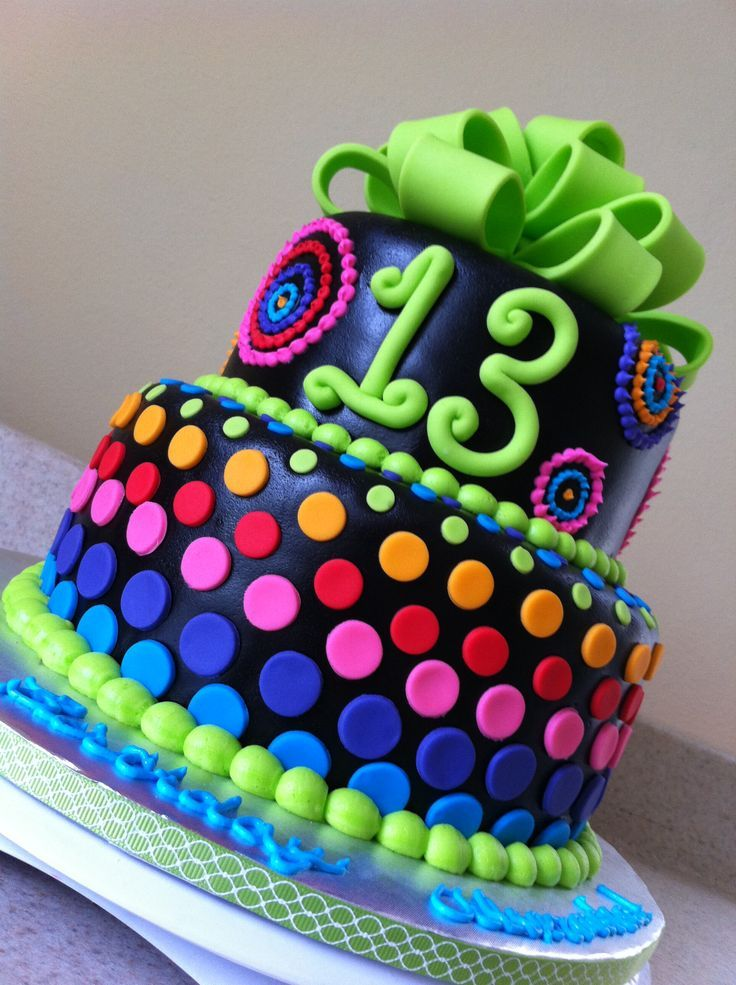 colorful birthday cakes for girls ; colorful-birthday-cakes-13th-birthday-girl-neon-and-neon-blue-purple-pink-orange-and
