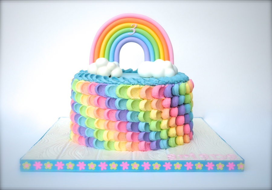 colorful birthday cakes for girls ; fancy-rainbow-birthday-cake-cakecentral-com
