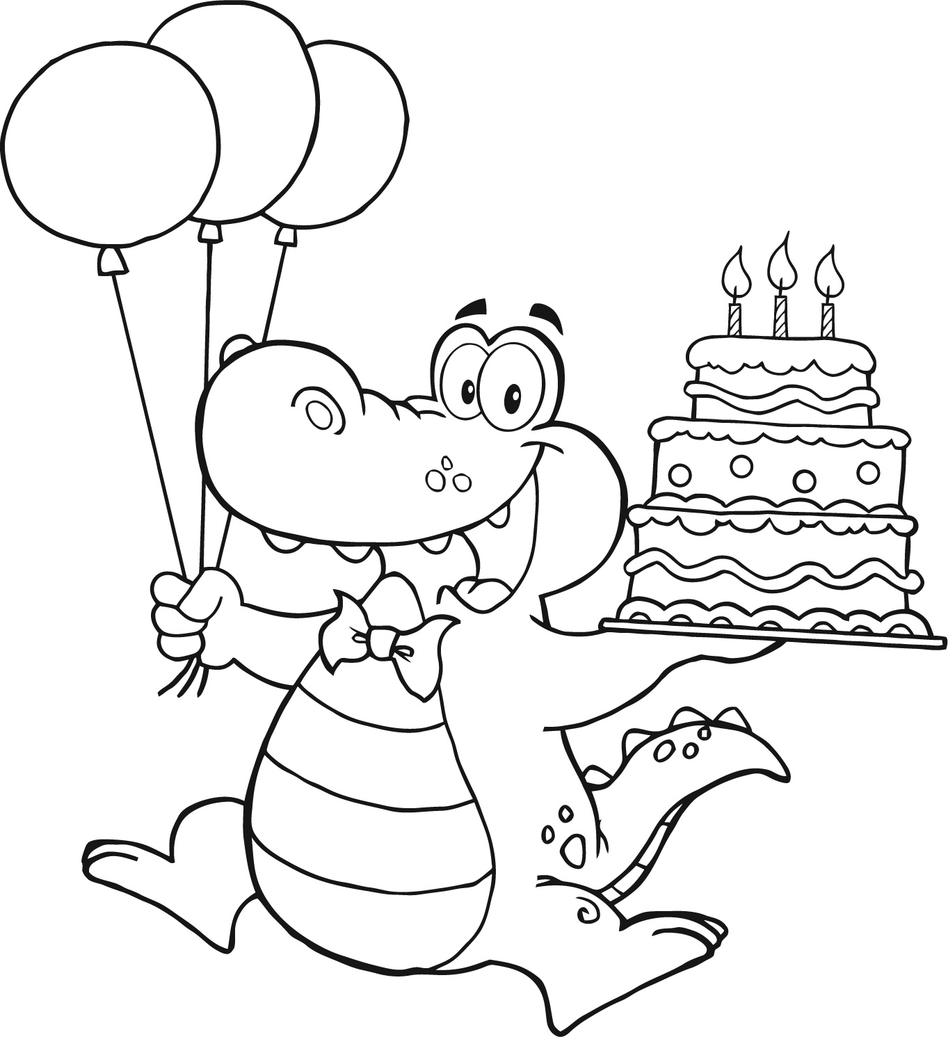 colour in birthday pictures ; alligator-holding-birthday-cake-for-kids