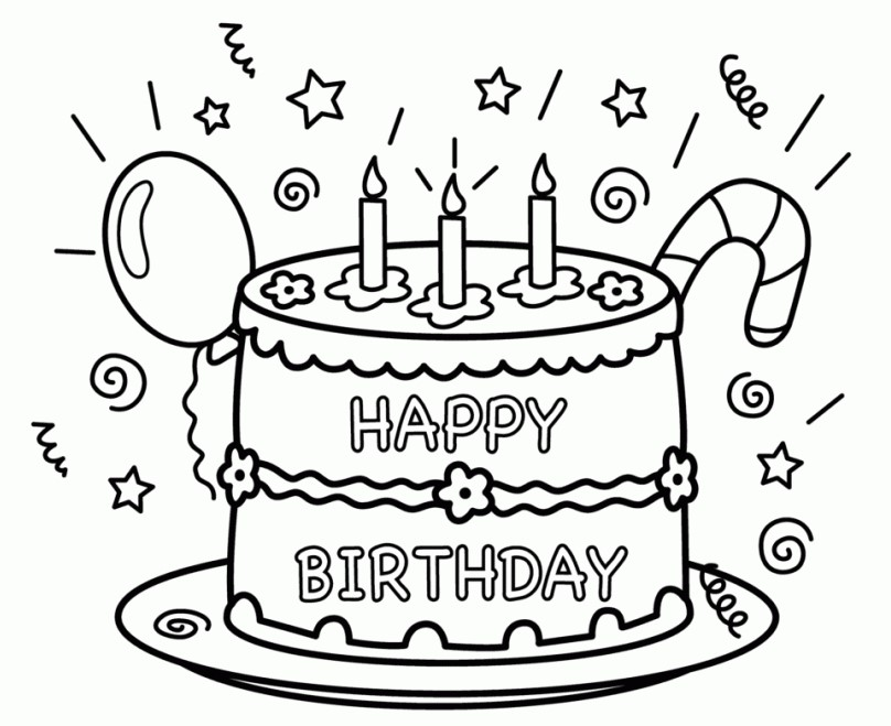 colouring pages for birthday ; Happy-Birthday-Cake-Coloring-Pages