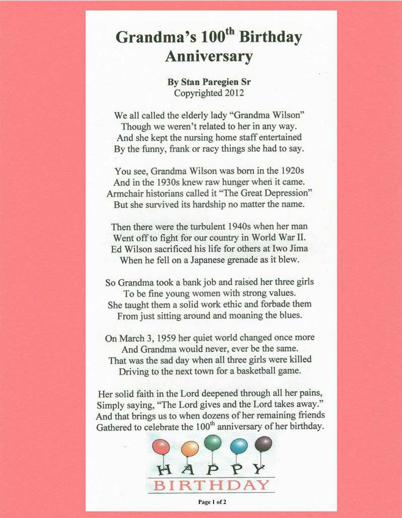cowboy birthday poem ; poem-262-downsized-grandmas-100th-birthday-part-1