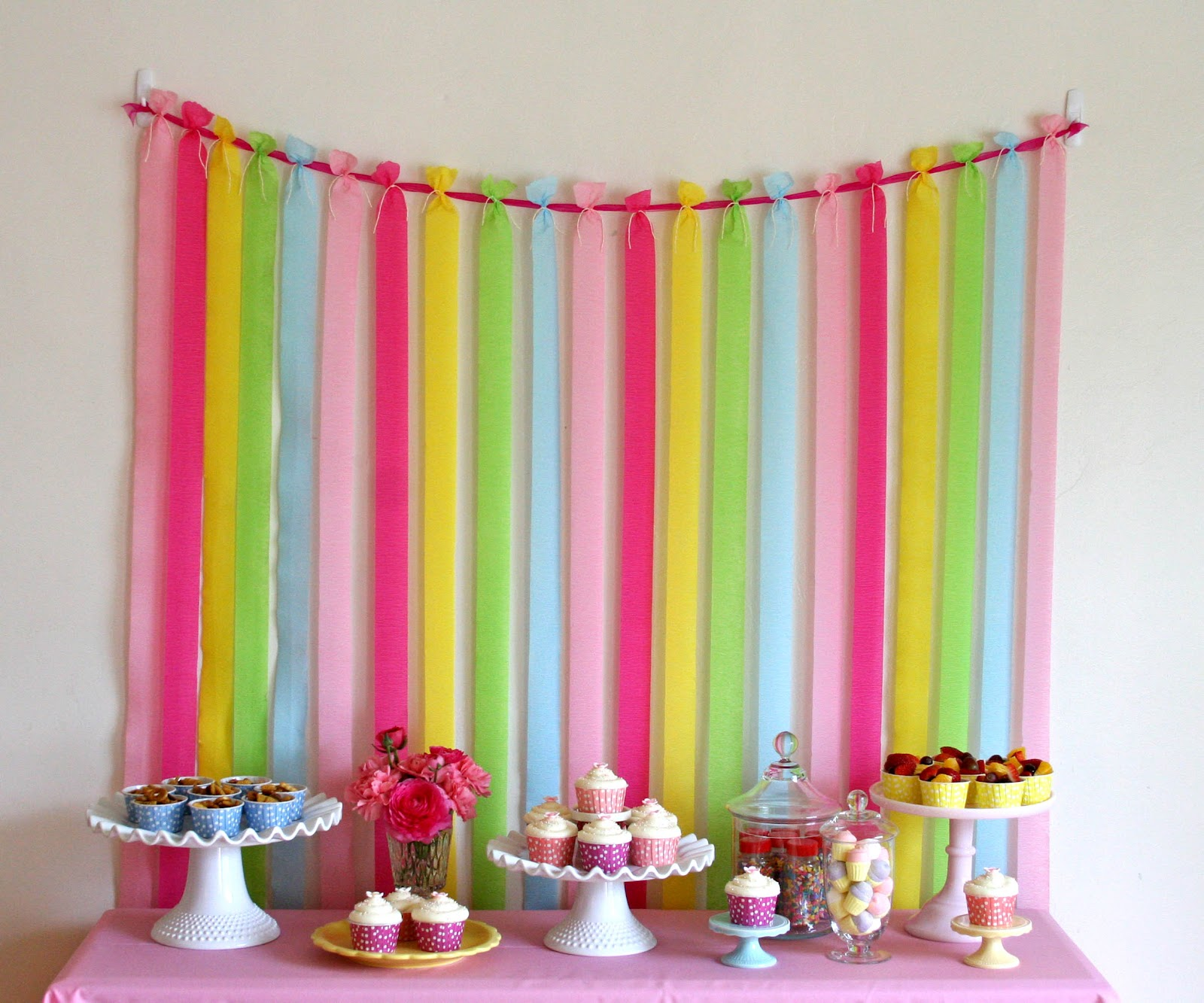 crepe paper design for birthday ; Easy+dessert+table+backdrop