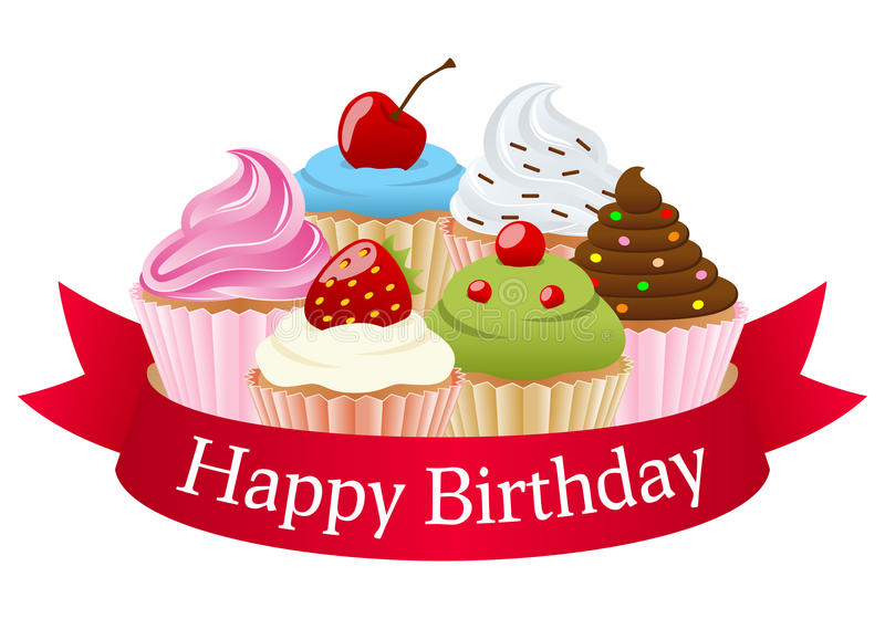 cupcake happy birthday banner ; birthday-cupcakes-red-ribbon-happy-banner-six-colorful-sweet-eps-file-available-31936032
