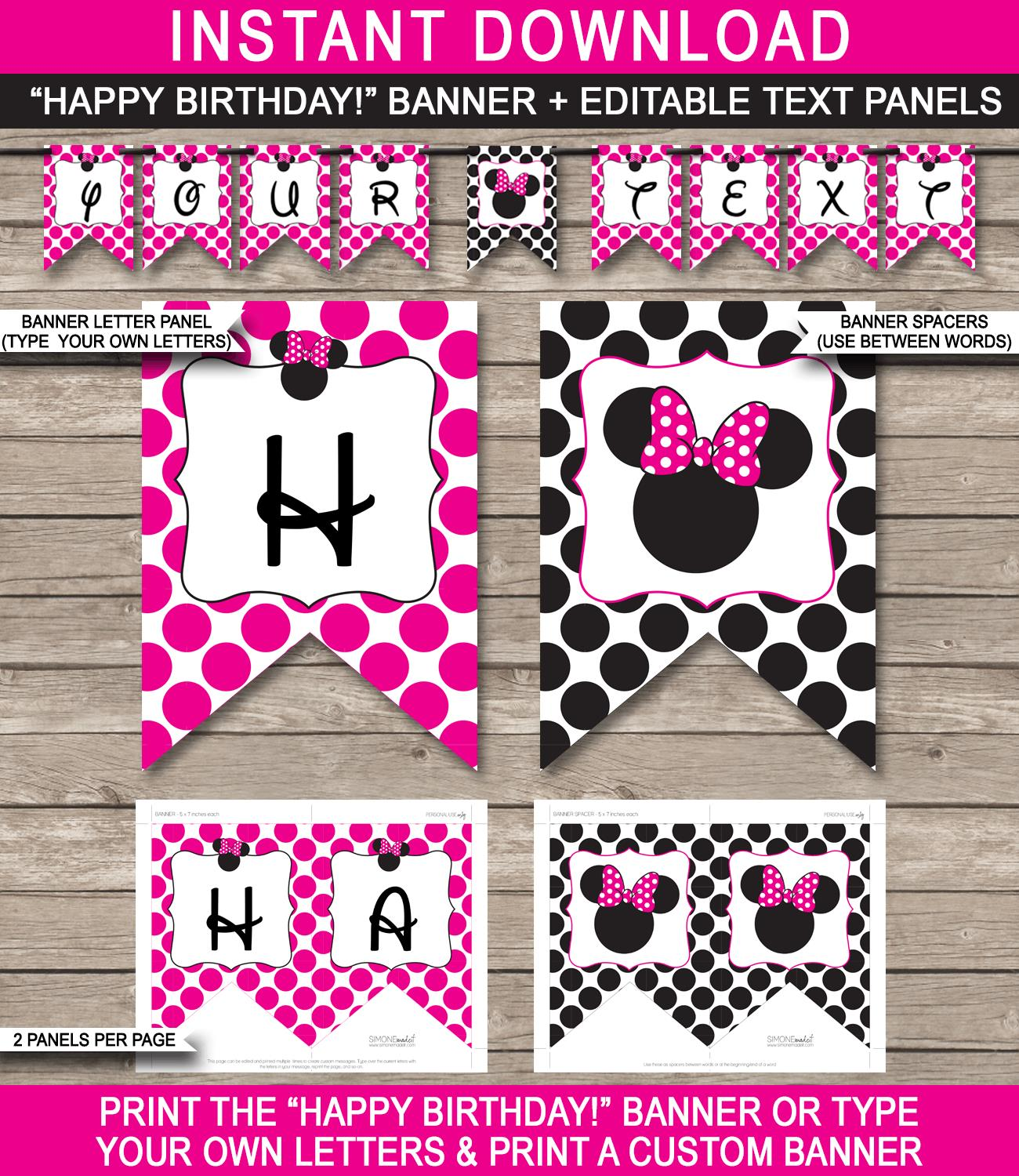 custom bday banners ; Minnie-Mouse-Banner-Happy-Birthday-Editable-text