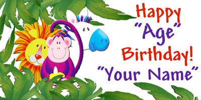 customize your own birthday banner ; JUNGLE-BANNER