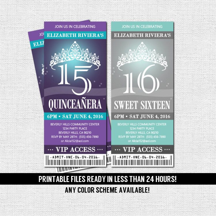 customize your own birthday banner ; customize-your-own-birthday-banner-inspirational-quinceanera-or-sweet-16-ticket-invitations-any-color-scheme-print-of-customize-your-own-birthday-banner