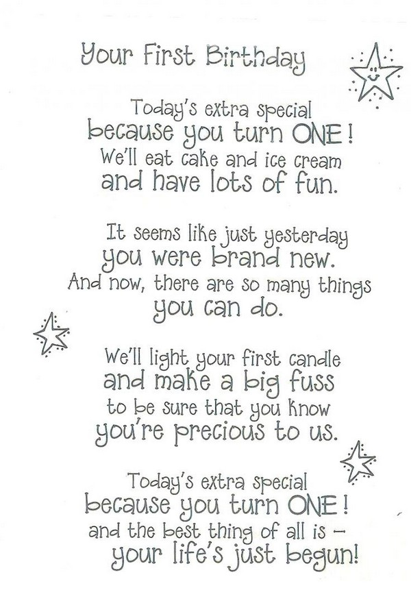 cute birthday rhymes ; first-birthday-poem