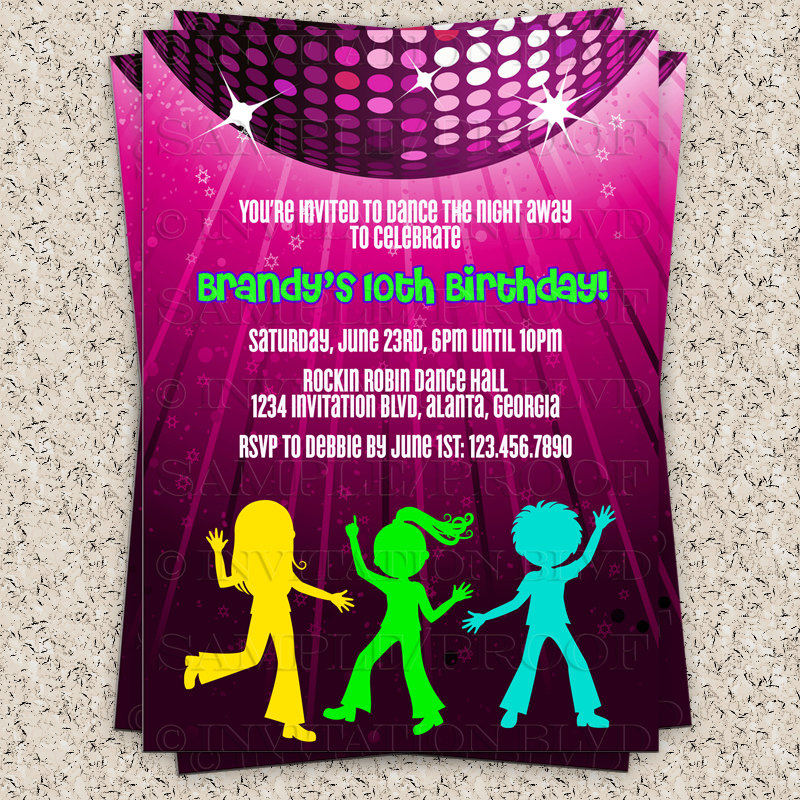 dance birthday party invitation templates ; dance-birthday-party-invitations-to-bring-more-colors-on-your-amazing-Party-invitations-8