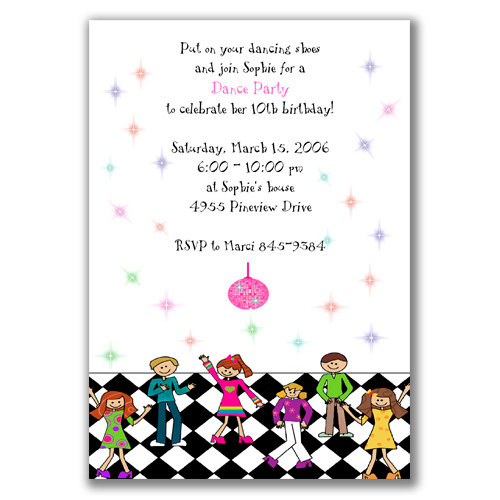 dance birthday party invitation templates ; dance-party-invitation-wording-to-bring-more-colors-on-your-astounding-Party-invitations-2