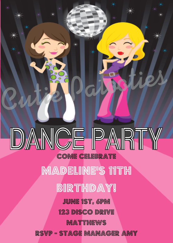 dance birthday party invitation templates ; disco-party-invites-printable-100-dance-party-invitations-templates-8-best-images-of