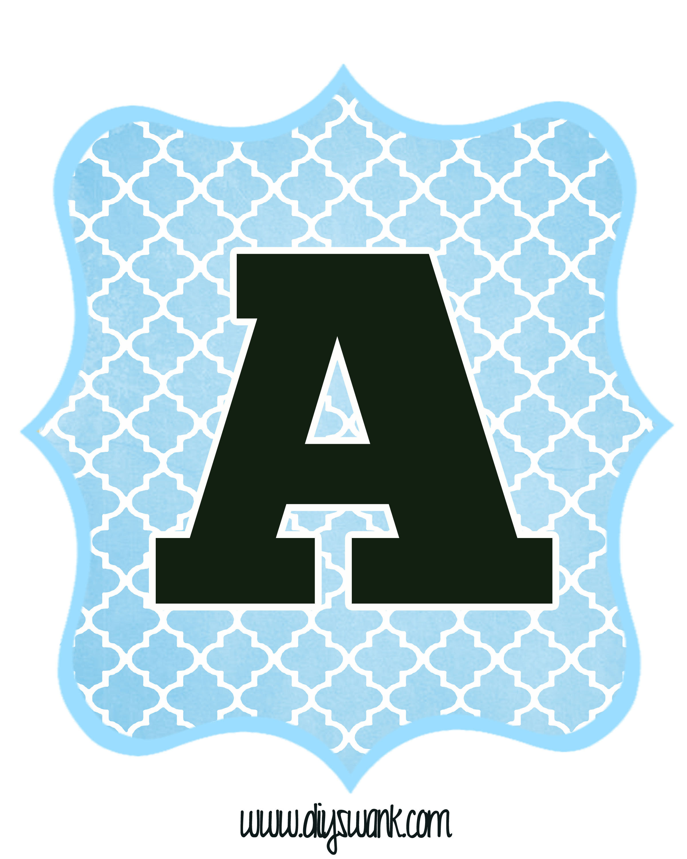 diy birthday banner template free ; Blue_Black-Letter_A