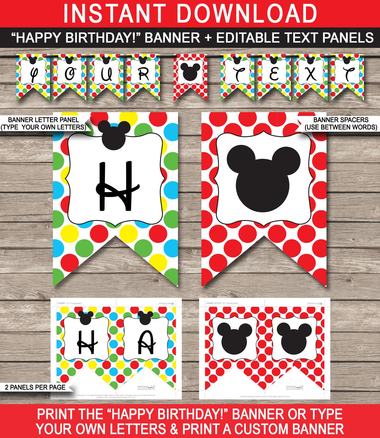 diy birthday banner template free ; Mickey-Mouse-Banner-Happy-Birthday-Editable-text