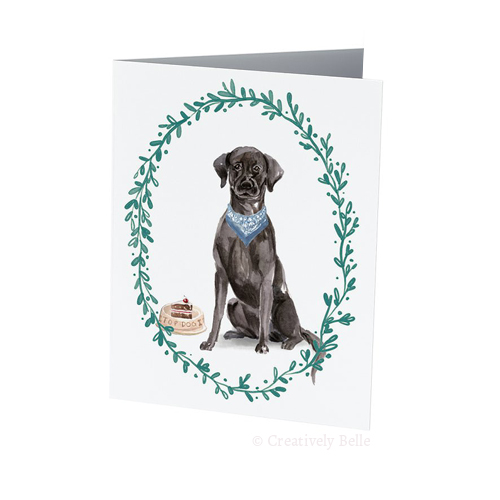 dog birthday card sayings ; Black-Labrador-with-Cake-Greeting-Card-Creatively-Belle-