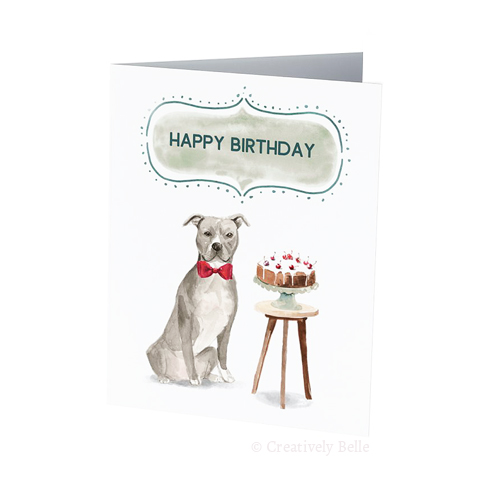 dog birthday card sayings ; Dog-and-birthday-cake-greeting-card-Creatively-Belle