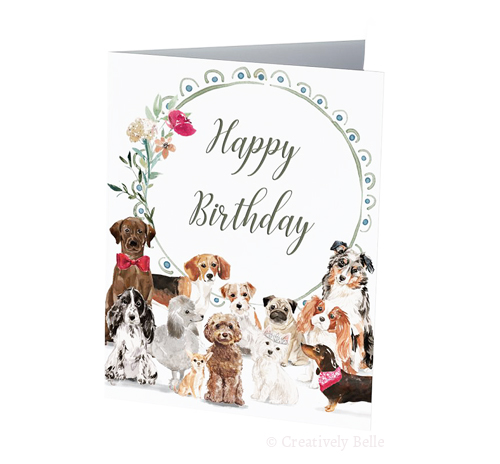 dog birthday card sayings ; Happy-Birthday-dog-family-Greeting-Card-Creatively-Belle
