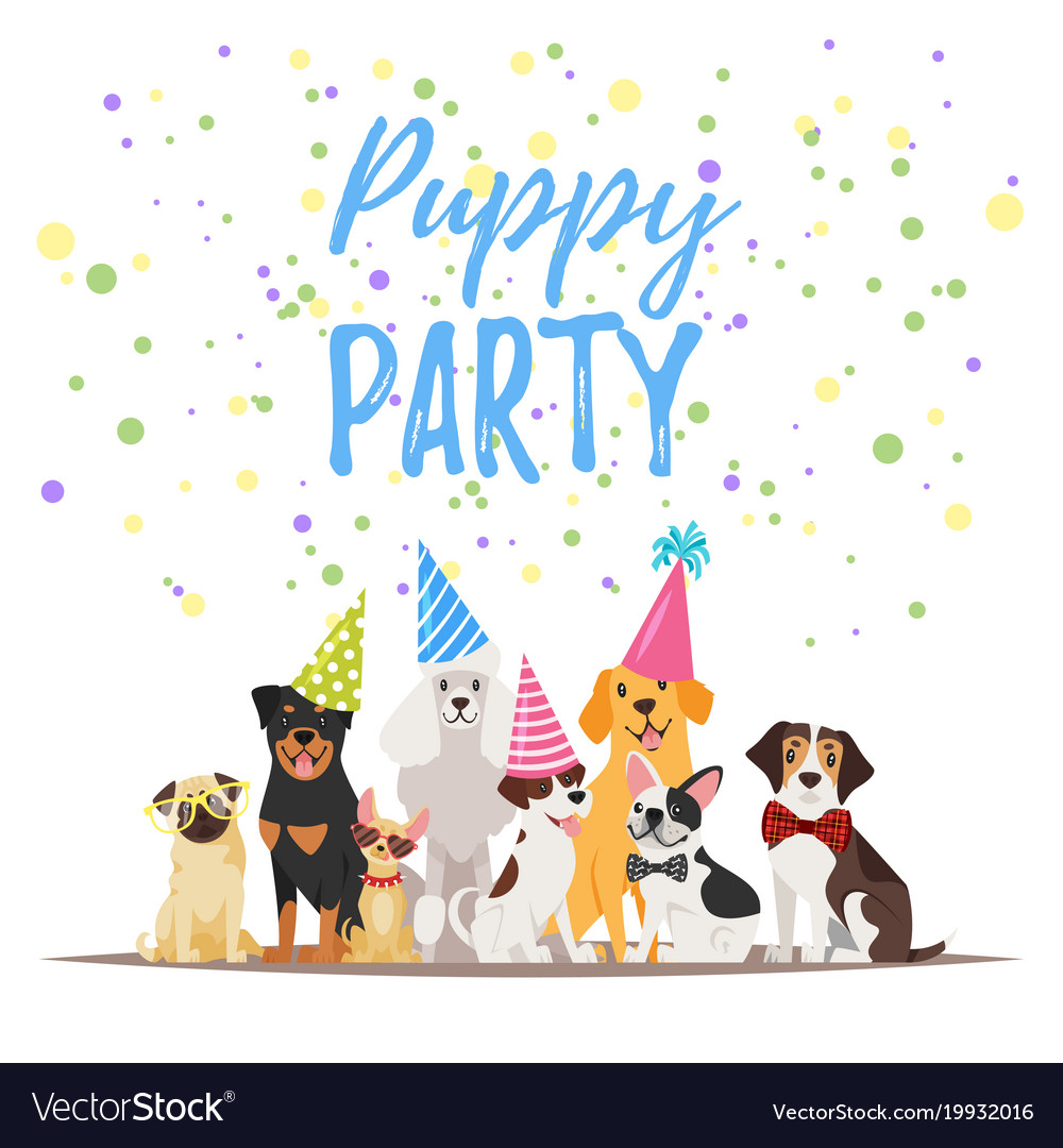 dogs first birthday card ; dog-birthday-party-greeting-card-vector-19932016