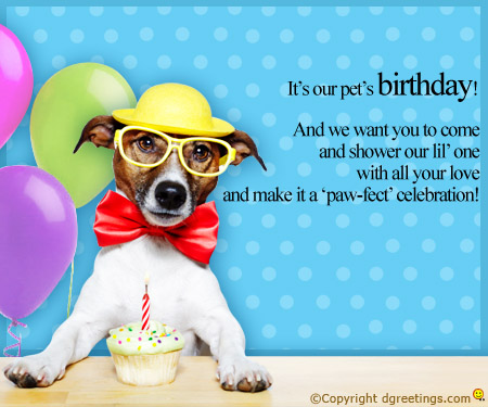 dogs first birthday card ; our-pet-birthday