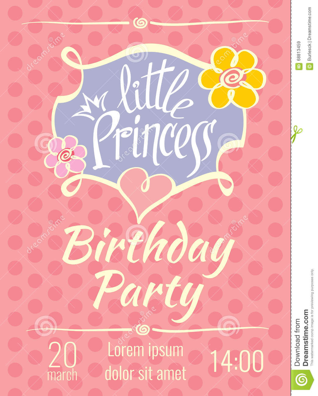 download birthday invitation card template ; little-princess-birthday-party-vector-poster-invitation-card-template-postcard-68813459
