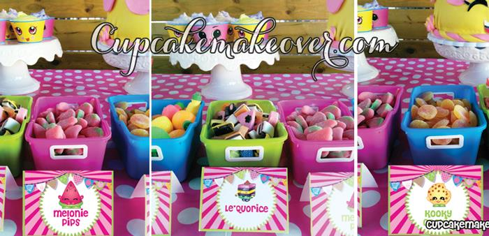 easy birthday party ideas ; Shopkins-Table-Food-Tents-Labels