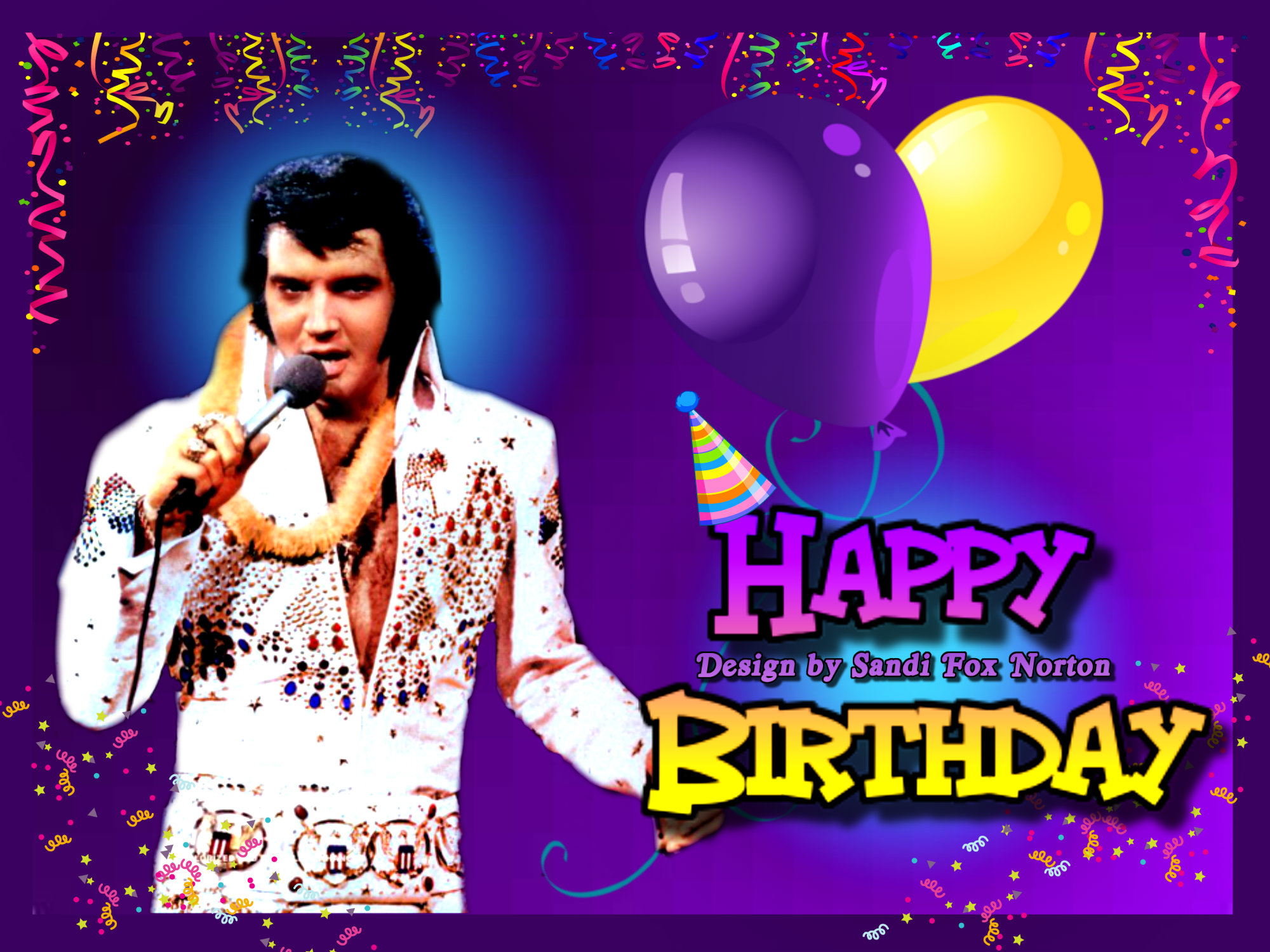 elvis presley personalised birthday card ; pizap