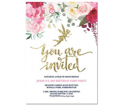 fairy photo birthday invitations ; floral-fairy