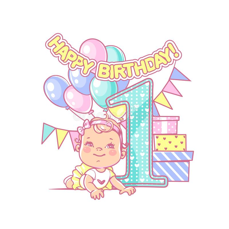 first birthday greeting for baby girl ; baby-girl-s-first-birthday-festive-decoration-one-year-near-large-number-celebration-little-boy-party-happy-wearing-bow-tie-108368801