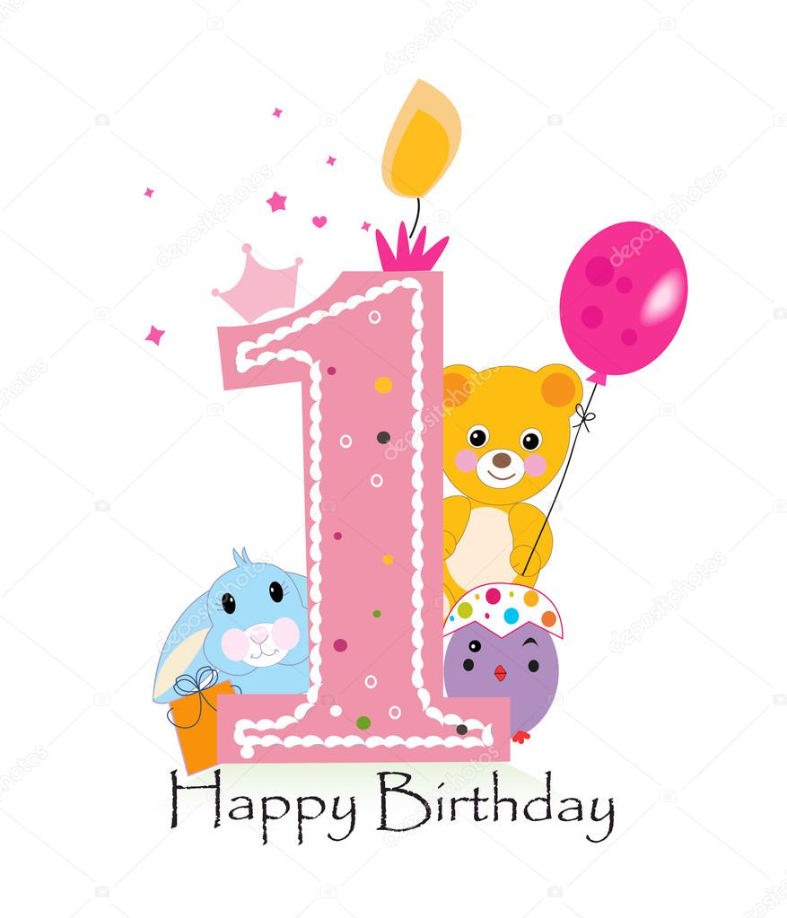 first birthday greeting for baby girl ; depositphotos_104137282-stock-illustration-happy-first-birthday-candle-baby