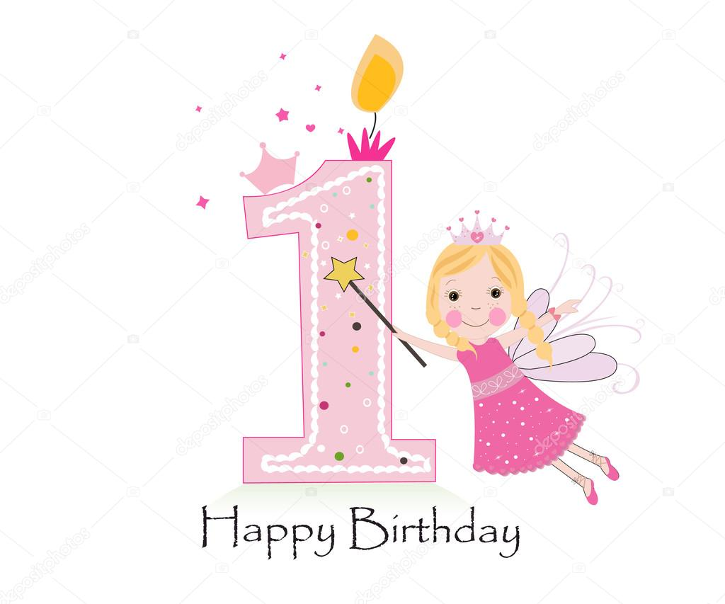 first birthday greeting for baby girl ; depositphotos_107580202-stock-illustration-happy-first-birthday-candle-baby