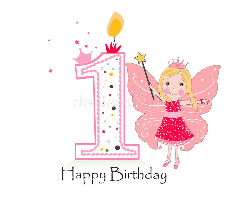 first birthday greeting for baby girl ; happy-first-birthday-candle-baby-girl-greeting-card-fairy-tale-vector-background-78395438