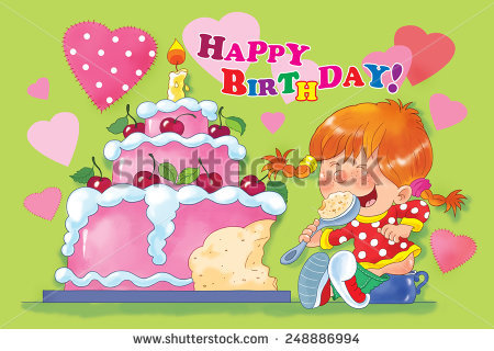 first birthday greeting for baby girl ; stock-photo-a-baby-girl-sitting-on-the-pot-eating-her-birthday-cake-with-one-candle-first-birthday-248886994
