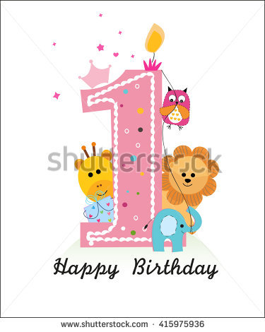 first birthday greeting for baby girl ; stock-vector-happy-first-birthday-with-animals-baby-girl-greeting-card-vector-415975936