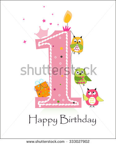first birthday greeting for baby girl ; stock-vector-happy-first-birthday-with-owls-baby-girl-greeting-card-vector-333027902