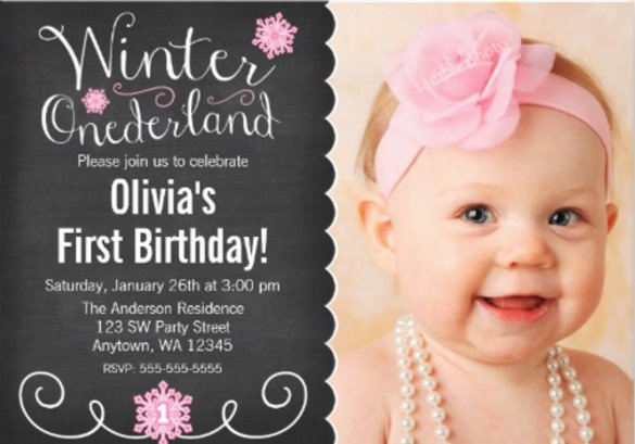 first birthday invitation templates free download ; Whimsical-Winter-Onederland-Photo-First-Birthday